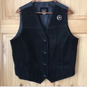 Route 66 suede leather sheriff's badge vest size L